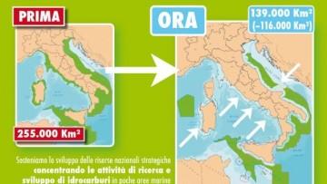 Dimezzate le aree marine per la ricerca di idrocarburi in mare