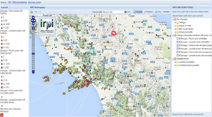 Eventi di dissesto idrogeologico in Campania registrati fino al 2011 (estrapolazione da http://webmap.irpi.cnr.it)